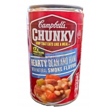CAMPBELL'S CHUNKY SOUP, HEARTY BEAN AND HAM WITH NATURAL SMOKE FLAVOR 18.8 OZ