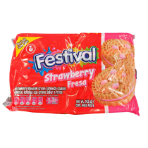 FESTIVAL STRAWBERRY FLAVORED SANDWICH COOKIES 14.2OZ